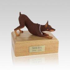 Doberman Red Stretching Small Dog Urn