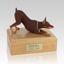 Doberman Red Stretching X Large Dog Urn