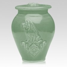 Dog Celadon Blue Ceramic Cremation Urn