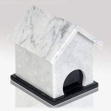 Dog House Bianco Stone Pet Urn