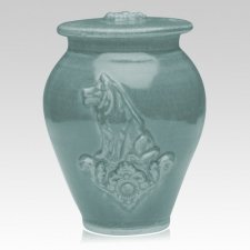 Dog Variegated Blue Ceramic Cremation Urn