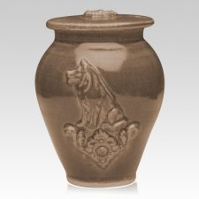 Dog Moss Black Ceramic Cremation Urn