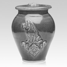 Dog Powder Blue Ceramic Cremation Urn