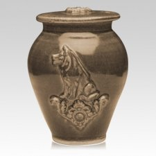 Dog Soft Brown Ceramic Cremation Urn