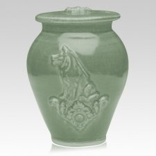Dog Tea Green Ceramic Cremation Urn