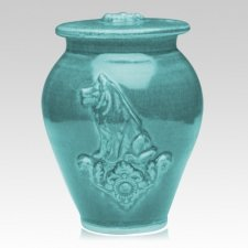 Dog Weathered Blue Ceramic Cremation Urn