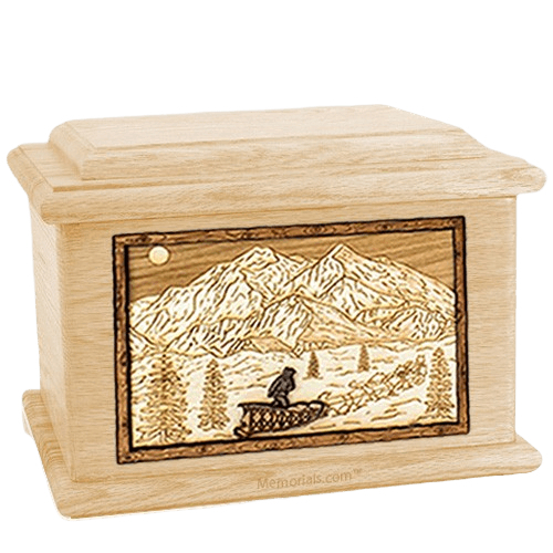 Dogsled Maple Memory Chest Cremation Urn