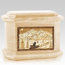 Dogsled Maple Octagon Cremation Urn