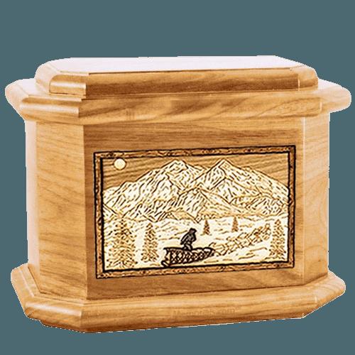 Dogsled Oak Octagon Cremation Urn