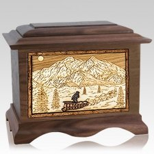 Dogsled Walnut Cremation Urn