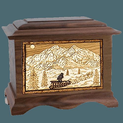 Dogsled Walnut Cremation Urn