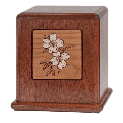 Dogwoods Wood Cremation Urn