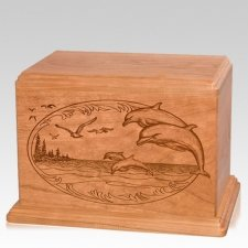 Dolphin Companion Cherry Wood Urn