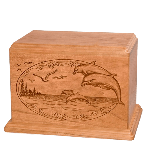 Dolphin Companion Cherry Wood Urn