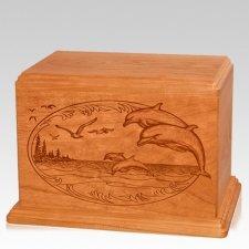 Dolphin Companion Mahogany Wood Urn