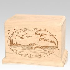 Dolphin Companion Maple Wood Urn