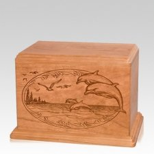 Dolphin Individual Cherry Wood Urn