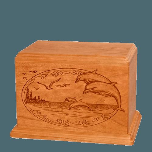 Dolphin Individual Mahogany Wood Urn