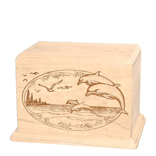 Dolphin Individual Maple Wood Urn