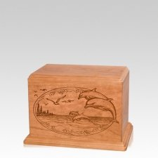 Dolphin Small Cherry Wood Urn