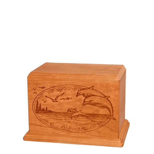 Dolphin Small Mahogany Wood Urn