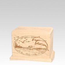 Dolphin Small Maple Wood Urn