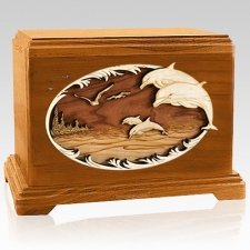 Dolphins Mahogany Hampton Cremation Urn