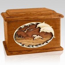 Dolphins Mahogany Memory Chest Cremation Urn