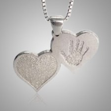 Double Heart Hand Print White Gold Keepsake