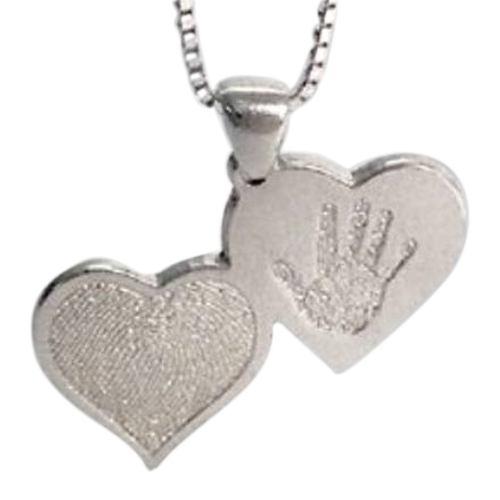 Double Heart Hand Print White Gold Keepsake