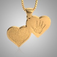 Double Heart Hand Print Gold Keepsake