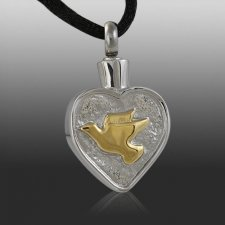Dove Heart Cremation Necklace