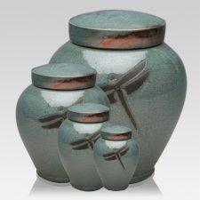 Dragonfly Aqua Raku Cremation Urns