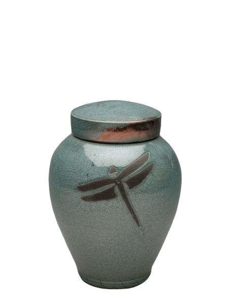 Dragonfly Aqua Raku Small Cremation Urn