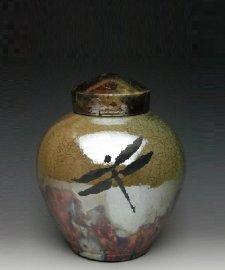 Dragonfly Raku Small Cremation Urn