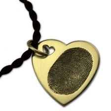 Dual Heart 14k Gold Print Keepsake