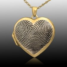 Dual Locket 14k Gold Print Keepsake