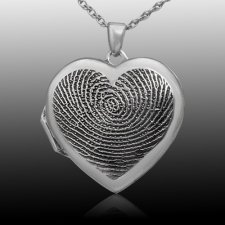 Dual Locket 14k White Gold Print Keepsake
