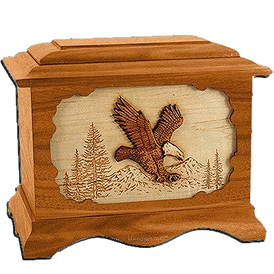 Eagle Mahogany Cremation Urn for Two