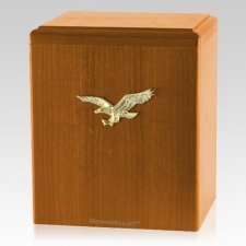 Eagle Ascent Oak Cremation Urn