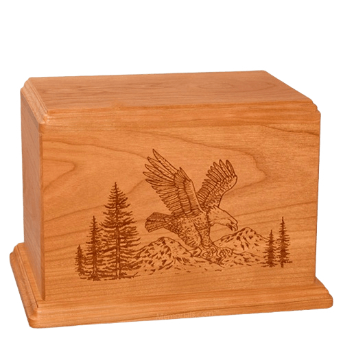 Eagle Companion Mahogany Wood Urn