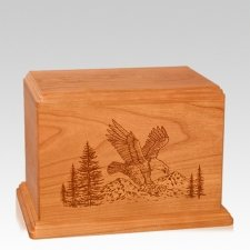 Eagle Individual Mahogany Wood Urn