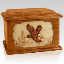 Eagle Mahogany Memory Chest Cremation Urn