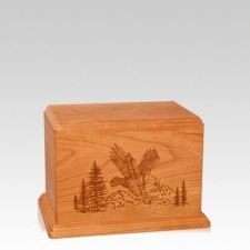 Eagle Small Mahogany Wood Urn