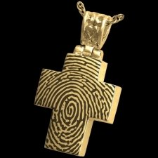 Elegant Cross 14k Gold Cremation Print Keepsake