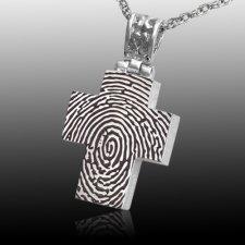 Elegant Cross 14k White Gold Cremation Print Keepsake