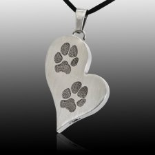 Elegant Heart Paw Stainless Print Cremation Keepsake