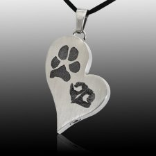 Elegant Heart Pet Stainless Prints Cremation Keepsake