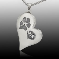 Elegant Heart Pet Sterling Prints Cremation Keepsake