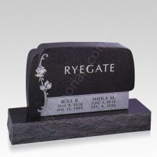 Elegant Rose Companion Granite Headstone